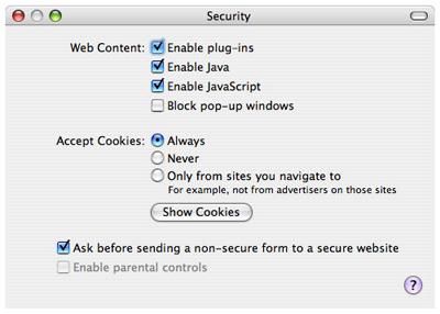 Safari Mac OS X Javascript