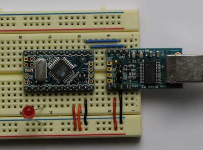 Connecting the Arduino Mini and Mini USB Adapter