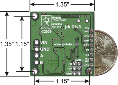 Pololu jrk 21v3 USB motor controller with dimensions