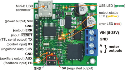 Pololu jrk 21v3 USB motor controller with feedback, labeled top view