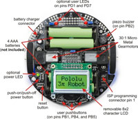 Pololu 3pi Control Board Features