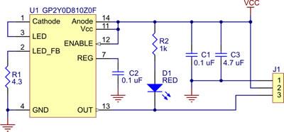 Pololu carrier for Sharp GP2Y0D810Z0F and GP2Y0D805Z0F sensors schematic diagram