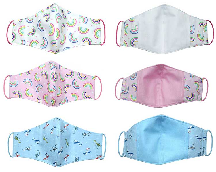 Childrens's 100% Cotton Washable 3 Layer Face Mask with Filter Pocket