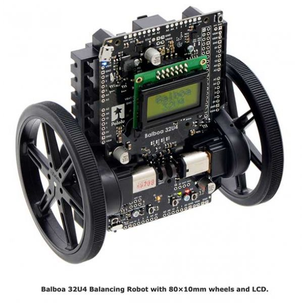 Balboa 32U4 Balancing Robot with 80×10mm wheels and LCD.
