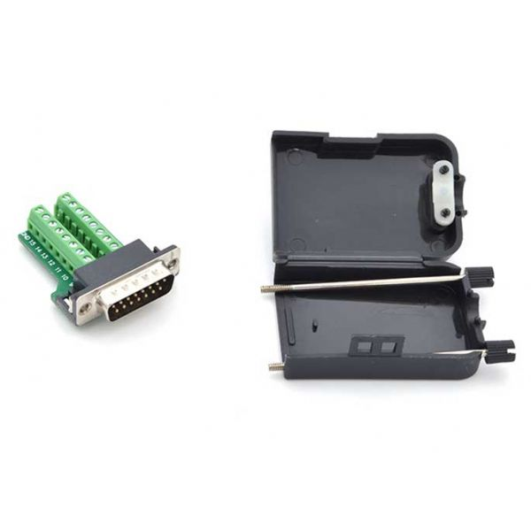 DB15 Breakout Adapter showing protective case