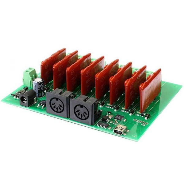 MIDI-RLY08-0 relay, 8 dimmer