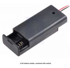 2-AA Battery Holder, Enclosed with Switch