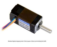 Sanyo Miniature Stepper Motor: Bipolar, 200 Steps/Rev, 14×30mm, 6.3V, 0.3 A/Phase, Single Shaft