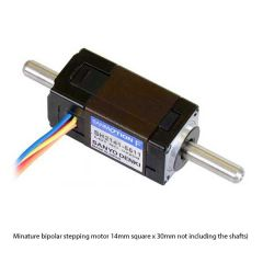 Sanyo Miniature Stepper Motor: Bipolar, 200 Steps/Rev, 14×30mm, 6.3V, 0.3 A/Phase, Double Shaft