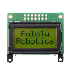 8×2 parallel character LCD – black bezel with example text on display.